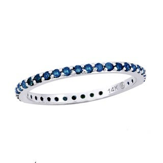 Beverly Hills Charm 14K White Gold 1/3ct TDW Diamond Stackable Eternity Band Ring (Blue)