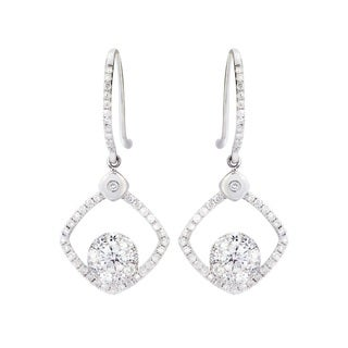 14k White Gold 1 1/2ct TDW Diamond Halo Drop Earrings