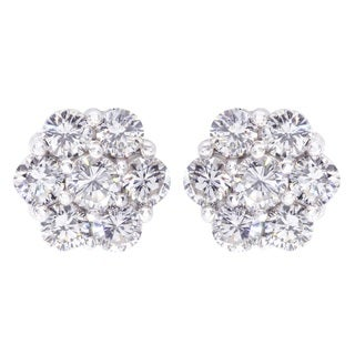 14k White Gold 1 3/5ct TDW Diamond Cluster Flower Stud Earrings