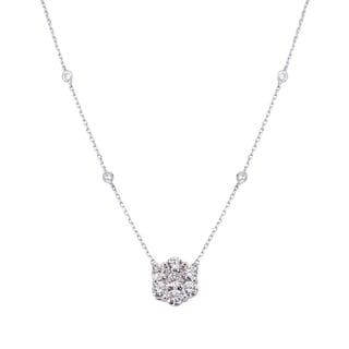14K White Gold 1ct TDW Diamond Flower Pendant Necklace (H-I, SI2-SI3)