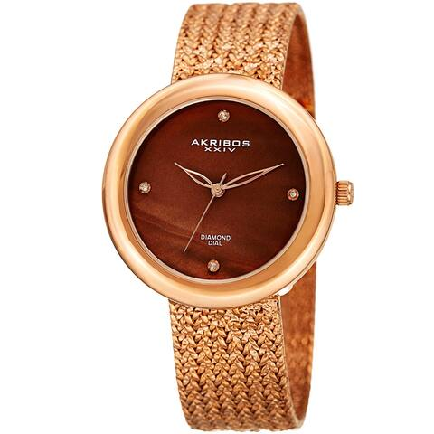 Akribos XXIV Women's Quartz Diamond Rose-Tone Bracelet Watch