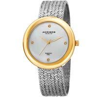 Akribos XXIV Women's Quartz Diamond Two-Tone Bracelet Watch