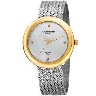 Akribos XXIV Women's Quartz Diamond Two-Tone Bracelet Watch