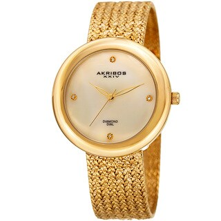 Akribos XXIV Women's Quartz Diamond Gold-Tone Bracelet Watch