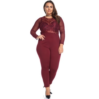 Burgandy Sheer Top Jumpsuit