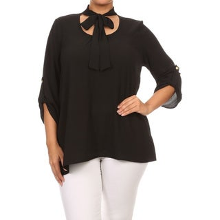Women's Polyester and Spandex Plus-size Floral Peasant Top