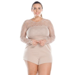 Hadari Women's Plus Size Long Sleeve Short Bodycon Romper