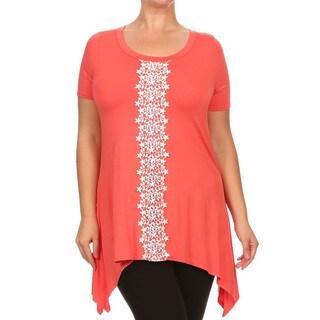 Plus Size Women's Rayon Crochet Trim Tunic