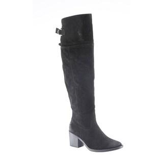 Hadari Women's Casual Faux Suede Knee High Heel Black Winter Boots