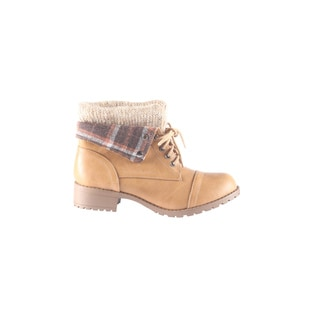 Hadari Women's Casual Fashion Foldable Plaid Print Tan Boots
