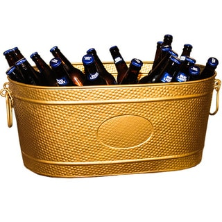 BREKX Heavy-Duty Golden Galvanized Creighton Pebbled Beverage Tub Party Chiller