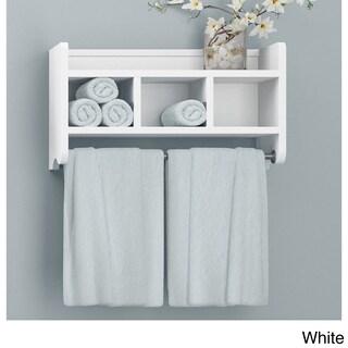 Alaterre 25-inch Wood Bath Storage Shelf with Towel Rod (Option: White - White Finish)