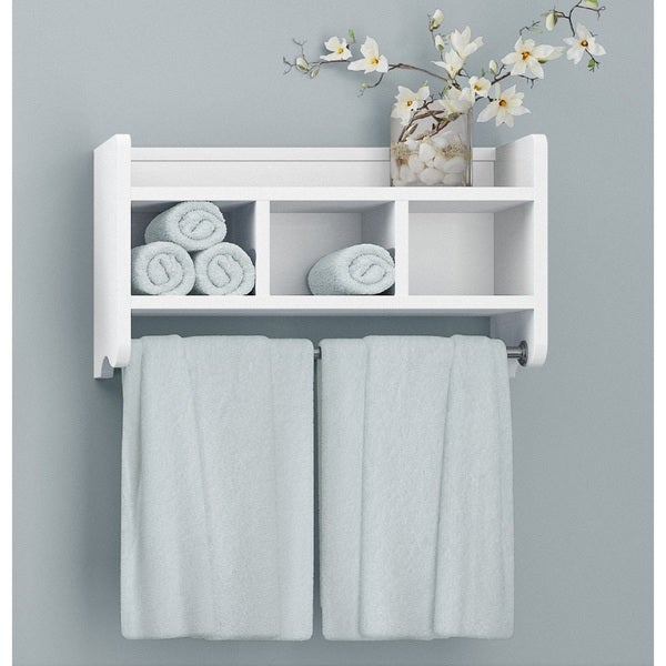 Beau Alaterre 25 Inch Wood Bath Storage Shelf With Towel Rod