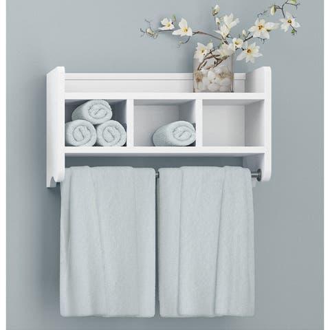 Alaterre 25-inch Wood Bath Storage Shelf with Towel Rod