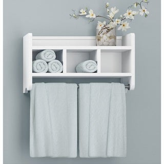 Alaterre Wood 25-inch Bath Storage Shelf with Towel Rod