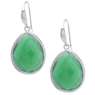 Sterling Silver Green Onyx Drop Earrings