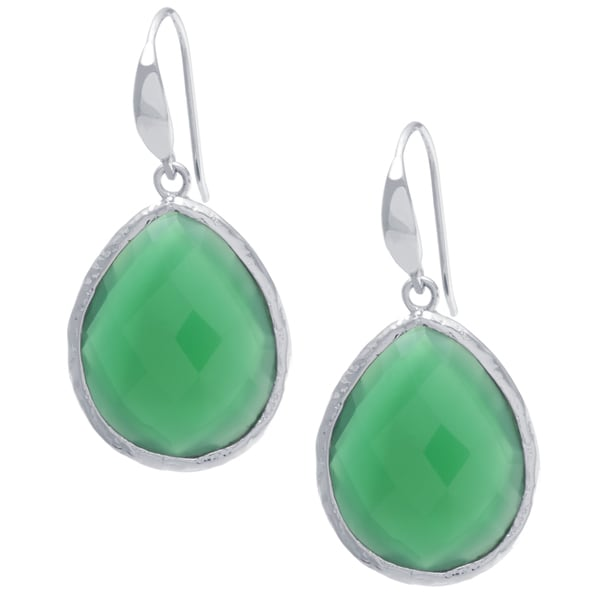 Sterling Silver Green Onyx Drop Earrings