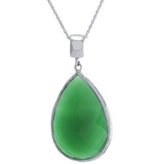 Sterling Silver Green Onyx Teardrop Pendant Necklace