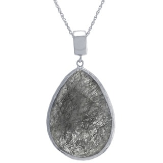 Athra Luxe Collection Sterling Silver Black Rutilated Quartz Teardrop Pendant Necklace