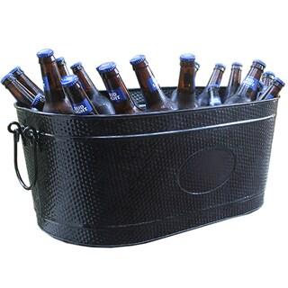 BREKX Heavy-Duty Black Galvanized Creighton Pebbled Beverage Tub Party Chiller