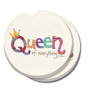 Counterart Absorbent Stone Car Coaster Queen of Everything (Set of 2)