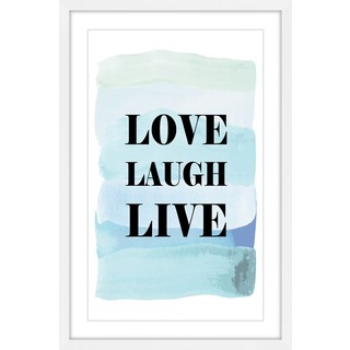 Marmont Hill - 'Love Laugh Live Blue' by Martina Pavlova Framed Painting Print