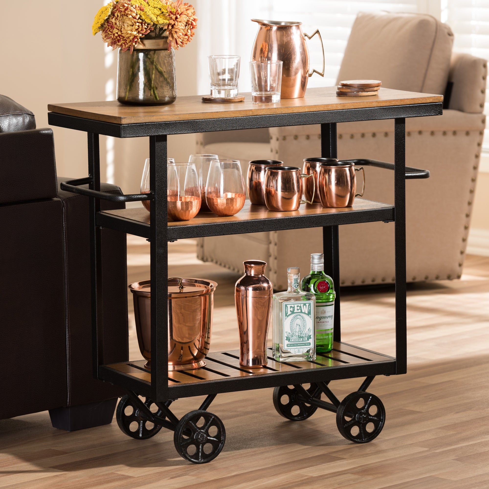 Baxton Studio Brown Industrial Kitchen Cart At Lowes Com: Shop Industrial Black&Brown Cart By Baxton Studio
