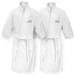 Mr or Mrs Embroidered White Railroad Robe
