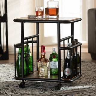 Baxton Studio Ianthina Rustic Industrial Style Antique Black Textured Finished Metal Distressed Wood Mobile Serving Cart
