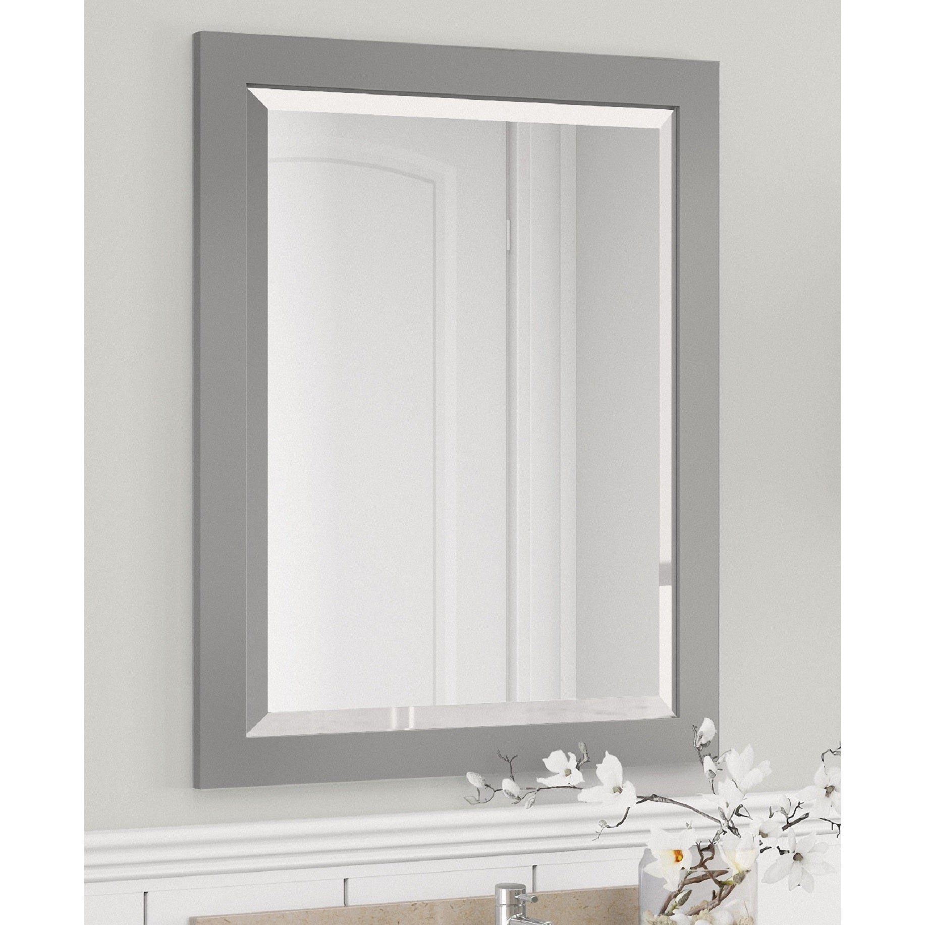 Alaterre 24 Inch Dove Gray Bath Wood Frame Vanity Mirror On Sale Overstock 13223204
