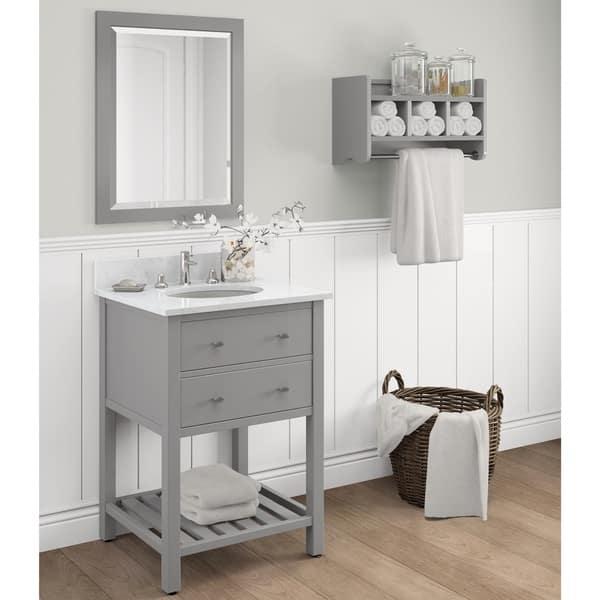 Alaterre 24 Inch Dove Gray Bath Wood Frame Vanity Mirror Overstock 13223204