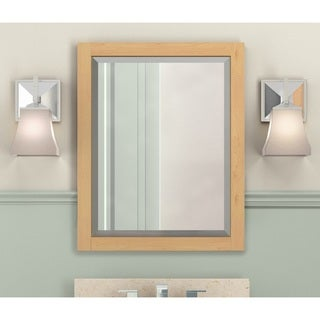 Alaterre 24-inch Natural Wood Beveled Bath Vanity Mirror