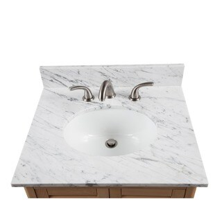 Alaterre 25-inch W Marble Sink Top for Bath Vanity