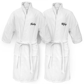 Hubby and Wifey Embroidered White Railroad Robe
