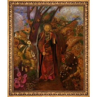 Odilon Redon 'Buddha Walking Among The Flowers, 1905' Hand Painted Framed Oil Reproduction on Canvas