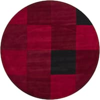 """Artist's Loom Hand-Tufted Casual Color Block Pattern Wool Rug (7'9"""" Round)"""
