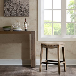 Madison Park Nomad Linen Saddle Counter Stool