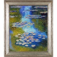 Claude Monet 'Water Lilies, Blue and Green' (Luxury Line) Hand Painted Framed Oil Reproduction on Canvas