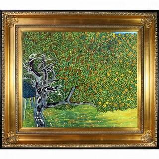 Gustav Klimt 'Golden Apple Tree' (Luxury Line) Hand Painted Framed Oil Reproduction on Canvas