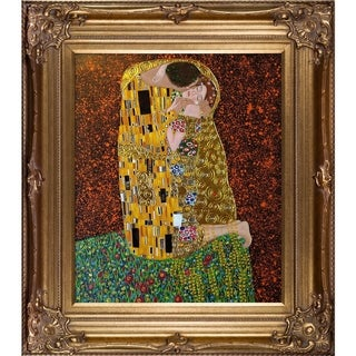 Gustav Klimt 'The Kiss' (Full View - Luxury Line) Hand Painted Framed Oil Reproduction on Canvas