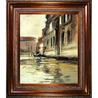 John Singer Sargent 'Venetian Canal, Palazzo Corner, 1880' Hand Painted Framed Oil Reproduction on Canvas