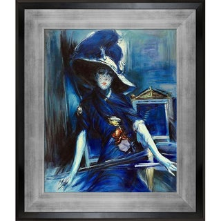 Giovanni Boldini 'The Divine in Blue' Hand Painted Framed Oil Reproduction on Canvas