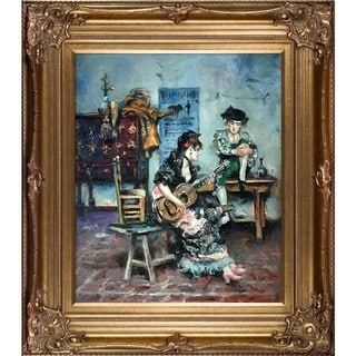 Giovanni Boldini 'A Guitar Player, 1873' Hand Painted Framed Oil Reproduction on Canvas