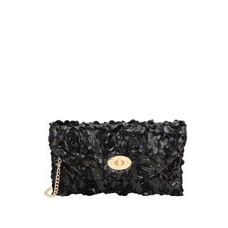 Mellow World Black Faux-leather Paisley Rose Petal Clutch - S