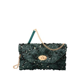 Mellow World Green Faux-leather Paisley Rose Petal Clutch