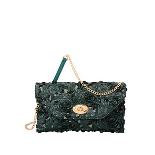 Mellow World Green Faux-leather Paisley Rose Petal Clutch - S