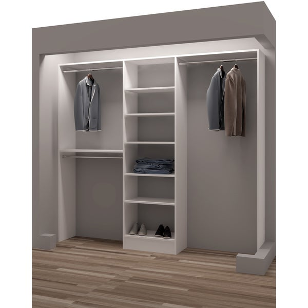 Gentil TidySquares Classic White Wood 93 Inch Reach In Closet Organizer