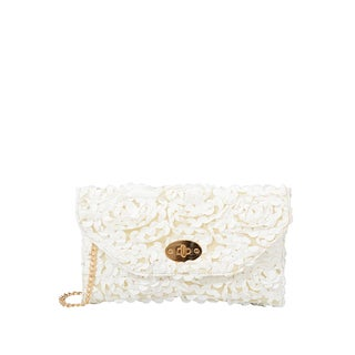 Mellow World White Faux Leather Paisley Rose Petal Clutch