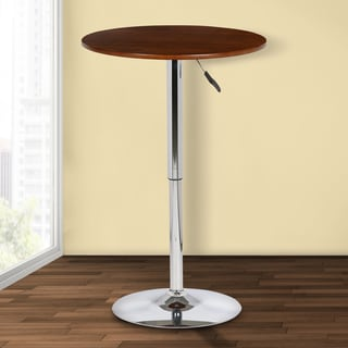 Armen Living Bentley Adjustable Pub Table in Walnut Wood and Chrome Finish