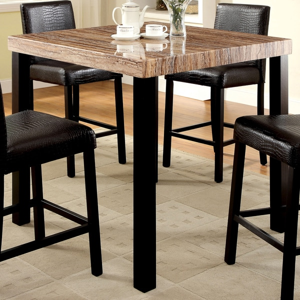 Counter Height Marble Dining Table : ... Dymen Contemporary Faux Marble Top Black Counter Height Dining Table